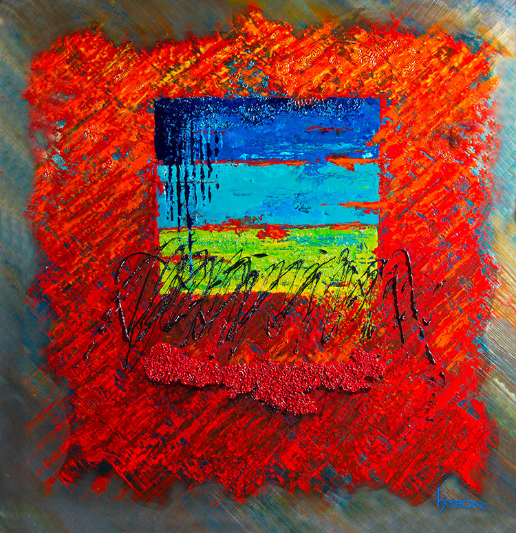 Beyond-Red--mixed-media-on-stainless-steel-