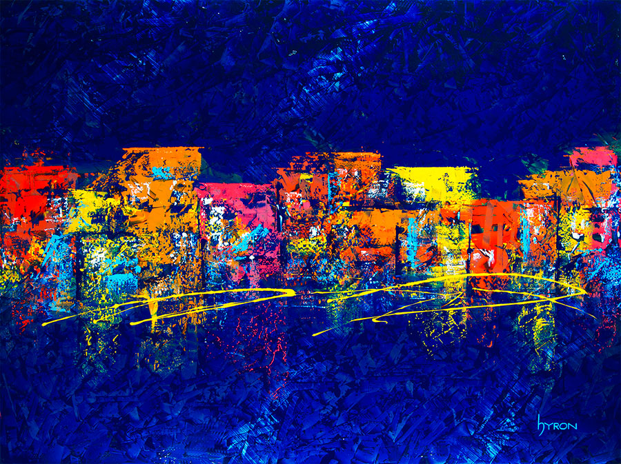 Elecxtric-South-Beach--48x36-mixed-media-on-stainless-steel