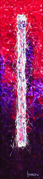 Finding Your Center 12x48 mixed media on stainless steel