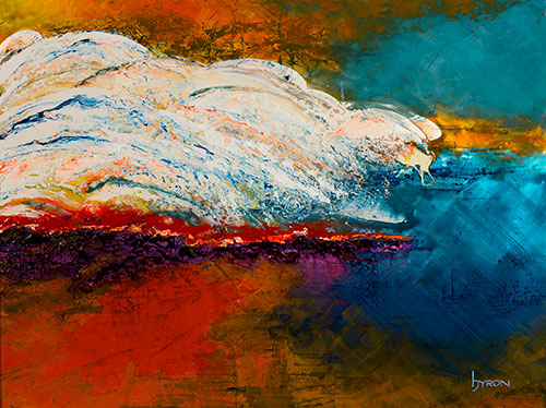 Rolling in 48x36 mixed media on stainless steel